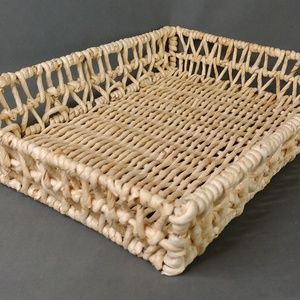 Other - Rattan Wicker Rectangle Basket 17 inch